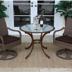 Hospitality Rattan - Hospitality Rattan Grenada 3 Piece Swivel Dining Bistro Set - Viro Fiber Antique - Shop for Tables and Chairs Sets from Hayneedle.com! Approach conversation from every angle in the Hospitality Rattan Grenada 3 Piece Swivel Dining Bistro Set - Viro Fiber Antique Brown's smooth-swiveling chairs. The Grenada Collection has a modern tropical feel that offers a clean look for any patio area - not to mention the convenience of all-weather wicker. This set's two rocking chairs are each supported by a sturdy swiveling base and an aluminum frame wrapped in high quality antique brown Viro fiber. High backs offer supreme comfort and decorative open weaving along the sides of each seat is light and airy. The dark bronze aluminum table boasts dramatically curved legs an artful center support and a clear tempered glass top.DimensionsChairs: 24L x 29W x 36H inchesTable: 36 diam. x 29H inchesAbout Hospitality Rattan Hospitality Rattan has been a leading manufacturer and distributor of contract quality rattan wicker and bamboo furnishings since 2000. The company's product lines have become dominant in the Casual Rattan Wicker and Outdoor Markets because of their quality construction variety and attractive design. Designed for buyers who appreciate upscale furniture with a tropical feel Hospitality Rattan offers a range of indoor and outdoor collections featuring all-aluminum frames woven with Viro or Rehau synthetic wicker fiber that will not fade or crack when subjected to the elements. Hospitality Rattan furniture is manufactured to hospitality specifications and quality standards which exceed the standards for residential use. Hospitality Rattan's Environmental Commitment Hospitality Rattan is continually looking for ways to limit their impact on the environment and is always trying to use the most environmentally friendly manufacturing techniques and materials possible. The company manufactures the highest quality furniture following sound and responsible en