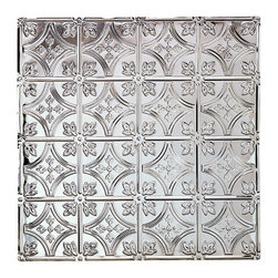 Renovators Supply - Ceiling Tiles Tin Ceiling Tile Fleur-de-Lis Circle 2 x 2 ft Tile - Tin Ceiling Tiles. Fleur-de-Lis Circle Tin Ceiling Panels: The most popular historical floral tin ceiling tiles, it can be used for nail-up  or drop-in ceilings, or even as a  backsplash.  Tin is rust-resistant, low maintenance & acts as a fire retardant, a safety feature for all homes. It can be painted to match any d��_cor or left as is. Match it with our Filler Panels #19219 to bridge the gap between field panels & the ceiling perimeter or cornice  perimeter. Measures 2 feet by 2 feet in addition to a ��_��___ inch lip all around for overlapping.