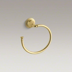 KOHLER - KOHLER Devonshire(R) towel ring - With a striking combination of curves and lines reminiscent of old-world design, Devonshire accessories provide distinctive visual impact for bath and powder rooms. A functional finishing touch to your bathroom, this towel ring keeps hand towels at the re