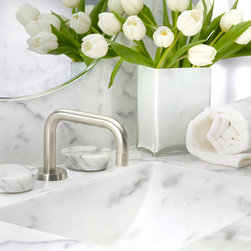 Zen Collection - The stone handles are from Stone Forest and the rocks are handpicked from the shores of the Great Lakes in Michigan. The shapes of the rocks are slightly irregular, which give them an even more organic and natural look and feel. Each handle is secured with rare earth magnets. The Zen Collection of handles is available for any Watermark Designs faucet in any configuration, giving designers virtually hundreds of design options. The stones are available in the following colors: Ice White Onyx, Honey Onyx, Nero Marquinha, Carrara Marble and Multi-Color. The rock colors are: Winter Morning, Harvest Light Beige, Mountain Midnight Dark and Harvest Dark.