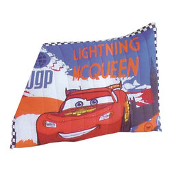 Pem America - Disney Cars 2 pattern Standard Size Pillow Sham - Standard sham measures 20 x 26 inches and features applique and embroidery. Face cloth is 60% cotton / 40% polyester. Fill is 100% polyester. Machine washable. Made in China.