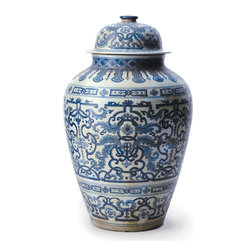 Kathy Kuo Home - Asian Lotus Covered Blue White Hand Painted Temple Jar - B - Add a little Asian influence to your interiors with this tall-standing temple jar. Kiln-fired porcelain shows off the lapis blue paint to beautiful effect. With its traditional silhouette, it looks equally stunning set on a mantel as it does on a rustic, reclaimed wood console.
