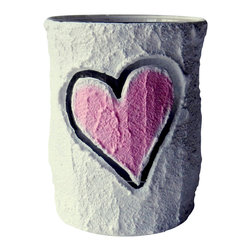 Carriage Oak Cottage - Pink Carved Heart Pencil Holder - A white pencil holder with a little carved heart, painted pink. Made-to-order, this will take about 4 days to make!
