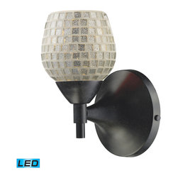 Elk Lighting - Elk Lighting Celina 1-Light Sconce in Dark Rust w/ Silver Glass - 1-Light Sconce in Dark Rust w/ Silver Glass belongs to Celina Collection by Elk Lighting Designed To Showcase Our Many Blown Glass Options, The Celina Collection Utilizes A Simplified Frame That Embellishes The Shape And Color Of The Glass. Finished In Polished Chrome Or Dark Rust. - LED Offering Up To 800 Lumens (60 Watt Equivalent) With Full Range Dimming. Includes An Easily Replaceable LED Bulb (120V). Sconce (1)