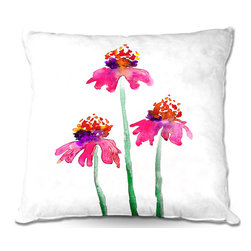 DiaNoche Designs - Pillow Woven Poplin from DiaNoche Designs by Brazen Design Studio - Echinacea - Toss this decorative pillow on any bed, sofa or chair, and add personality to your chic and stylish decor. Lay your head against your new art and relax! Made of woven Poly-Poplin.  Includes a cushy supportive pillow insert, zipped inside. Dye Sublimation printing adheres the ink to the material for long life and durability. Double Sided Print, Machine Washable, Product may vary slightly from image.