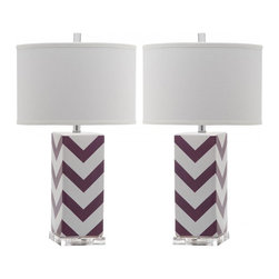 Safavieh - Chevron Stripe Table Lamp ZMT-LIT4136E (Set of 2) - Purple - Brighten transitional interiors with the graphic Chevron Stripe table lamp by Safavieh. Crafted of purple and white ceramic with acrylic base and a silver neck, this bold zigzag design is topped with a contemporary white cotton hardback drum shade. (Sold in set of 2).