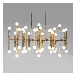 Robert Abbey - Robert Abbey Jonathan Adler Meurice Rectangular Chandelier 687 - Antique Brass Finish