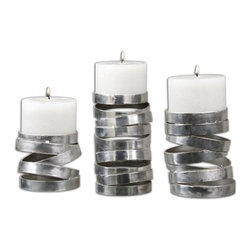 "Uttermost - Uttermost Tamaki Silver Candle Holder X-01891 - Abstract in design, these candleholders feature a metallic silver finish. Distressed white candles included. Sizes: Small - 5"" x 4"" x 5"", Medium - 5"" x 6"" x 5"", Large - 5"" x 8"" x 5""."