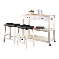 Crosley Furniture - Crosley Natural Wood Top Kitchen Cart/Island with Stools in White - Crosley Furniture - Kitchen Carts - KF300514WH