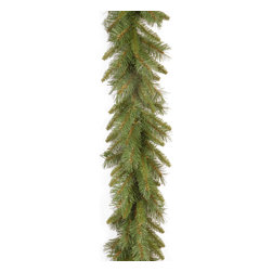 "National Tree Company - 9' x 10"" Tiffany Fir Garland - Measuring 6 inches by 10 inches by 9 feet,this Tiffany fir garland may be draped over mantels,windows and doors,with decorative elements nestled within. The PVC,plastic,metal and wire components give you a fire-resistant garland."