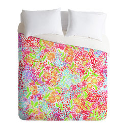 DENY Designs - Joy Laforme Abstract Tropics 1 Duvet Cover - Turn your basic, boring down comforter into the super stylish focal point of your bedroom. Our Luxe Duvet is made from a heavy-weight luxurious woven polyester with a 50% cotton/50% polyester cream bottom. It also includes a hidden zipper with interior corner ties to secure your comforter. it's comfy, fade-resistant, and custom printed for each and every customer.