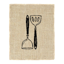 Fiber and Water - Kitchen Spatula's Burlap Wall Art Decor Unframed 8X10 Art - A tasteful depiction of a useful kitchen accessory, Spatula. Hand-pressed onto natural burlap using water-based inks. All frames are fully assembled, ready to hang! Framing optional, Made in the USA. INK COLOR: Black. MAT COLOR: White