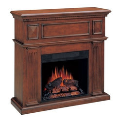 """CST900352 - Corner Mahogany Finish Wood Electric Fireplace Mantle - Corner Mahogany finish wood electric fireplace mantle with contemporary traditional stylings. Corner, mahogany finish, all wood mantel featuring 23"""" Electric fireplace insert complete with 1350 watt/ 4600 BTU forced air heater heating up to a 400 square foot room.   Measures 43"""" x 13"""" x 40"""" H.  Some assembly required."""