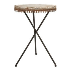 Rustic Elegance Metal Accent Table - *Want that antique look without the antique price? The Julian Metal table gives you that old world feel with is rust decorative trim.