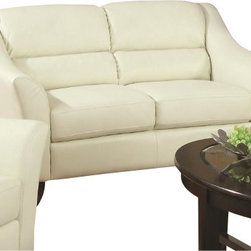 "Coaster - Love Seat (Ivory) By Coaster - Update your living room with this casual contemporary loveseat. Split back cushions offer a comfortable and casual feel, while flared arms and tapered exposed wood legs give this piece a decidedly modern style. Upholstery is ivory bonded leather. This listing is for the loveseat only, matching pieces available separately. Dims: 59"" X 36"" X 35""."