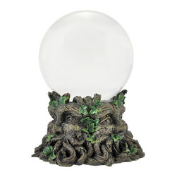 Zeckos - 130mm Clear Crystal Ball with Green Man Base - Add a unique element to your home decor with this crystal gazing ball The 130mm (approximately 5 inch) ball rests atop a cold cast resin base that measures 3 inches tall, 5 inches in diameter. Upon first glance, the base resembles a tree stump, but upon closer inspection, the roots and vines of ivy form a Green Man's friendly face. It is wonderfully detailed, from the textures of the bark and roots to the carefully hand painted accents. This piece makes a thoughtful housewarming gift, and is sure to spark a conversation.