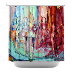 DiaNoche Designs - Shower Curtain Artistic - Exodus - DiaNoche Designs works with artists from around the world to bring unique, artistic products to decorate all aspects of your home.  Our designer Shower Curtains will be the talk of every guest to visit your bathroom!  Our Shower Curtains have Sewn reinforced holes for curtain rings, Shower Curtain Rings Not Included.  Dye Sublimation printing adheres the ink to the material for long life and durability. Machine Wash upon arrival for maximum softness on cold and dry low.  Printed in USA.