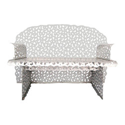 Knoll - Consigned R. Schultz for Knoll Topiary Collection Aluminum Bench in Soft Silver - Topiary Collection Aluminum Bench