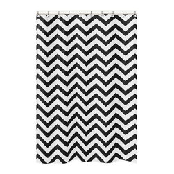 Sweet Jojo Designs - Sweet Jojo Designs Black/ White Chevron Zigzag Shower Curtain - Add a touch of style and a splash of color to your bathroom with the Sweet Jojo Designs chevron shower curtain in a black and white finish. This brushed microfiber curtain is machine washable for repeated use and convenience.