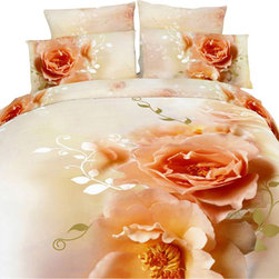 Dolce Mela - Luxury Duvet Covet Set Modern Linens Dolce Mela DM438, Queen - Decorate with the delicate beauty of Apricot Rose blossoms and artistic floral watermarks on a soothing off white  background and create a dreamy nest in your private oasis.
