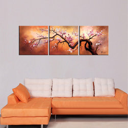 None - Hand-painted 'Plum Blossom 310' 3-piece Gallery-wrapped Canvas Art Set - Set an alluring,mystical vibe in your home decor with this modern gallery-wrapped canvas art. This three-panel wall hanging set features a plum blossom branch that spans the length of each panel to become a vivid focal point on any wall.