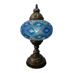 Stunning Color Mosaic Lamp - Blue Sky - Authentic Desk Lamp , Moroccan Style Lamp , Night Lamp, Exotic Lamp