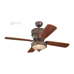 "Monte Carlo Fan - Monte Carlo Fan 42"" / 28"" Villager Traditional Ceiling Fan X-L-DBT82/24GV4 - A beautiful fan that boasts four personalities to complement any room, any need."