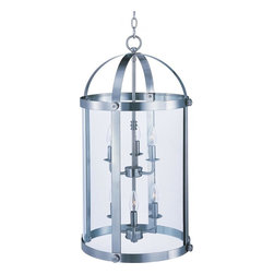 Maxim - Maxim Tara Six Light Satin Nickel Clear Glass Foyer Hall Pendant - This Six Light Foyer Hall Pendant is part of the Tara Collection and has a Satin Nickel Finish and Clear Glass. It is Dry Rated.