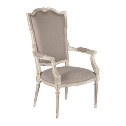Kathy Kuo Home - Josie Elegant French Country Bleached Oak Wood Arm Chair - Svelte, shapely and slightly sultry, the Josie chair is as alluring as Josephine Bonaparte herself. The Josie chair will always be the center of attention in any room because of its curves and attention to detail such as a spring seat and single welt piping.