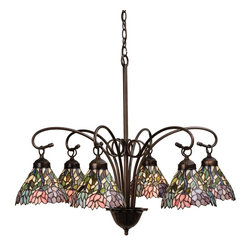 Meyda Tiffany - Meyda Tiffany Wisteria Traditional Tiffany Chandelier X-02781 - Multi color leaves coalesce in a magnificent display of luxury and comfort in this Wisteria traditional Tiffany chandelier. The mahogany bronze finish is made to last so you can always enjoy the brilliant shine in your bathroom, apartment, or dining room. Share this alluring work of art with friends and family. This fixture turns heads and starts conversation.