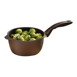 """Swiss Diamond - Nonstick Saucepan with Lid - 2.2 qt (7"""") - Tired of leaning over the kitchen sink to scrub your pots and pans? The Swiss Diamond 2.2-quart (7 inch) Saucepan makes clean-up a breeze  no scrubbing or soaking necessary! Ideal for your favorite gravy, marinara sauce, and more, the cast aluminum body warms contents evenly with less stirring required. Swiss Diamonds patented nonstick coating is reinforced with real diamond crystals for unparalleled durability and resilience  ideal ingredients for a lifetime of cooking excellence. The ergonomic handle stays cool on the stovetop and is securely attached to the pan without interior rivets to prevent bacteria build-up. Heat-tempered glass lid included. Oven-safe up to 260C (500F). Dish washer safe, but we recommend hand washing. Made in Switzerland."""