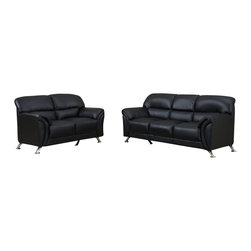 Global Furniture USA - U9103 Black Vinyl Material Three Piece Sofa Set - The U9103 sofa set works with any decor and will have you relaxing in modern comfort. This sofa set comes upholstered in a stunning black colored vinyl material. High density foam is used within the cushions for added comfort. Each piece features chromed stainless steel legs that add to the overall look of the sofa set. The sofa set includes a sofa, loveseat, and chair only.