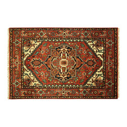 Manhattan Rugs - New Free-Pad HQ Wool Heriz Hand Knotted Serapi 4x6 Red Veg Dyed Floral Rug H5847 - Heriz is situated in the northwestern part of Iran (Persia).  Though the term covers Hand knotted rugs of numerous small villages in the area, the most beautiful Rugs were woven in Heriz itself For the last 100 years, the Heriz carpet designs have basically remained the same, with only small variations in color pallets and density of the design. The late 19th Century Rug (so called Serapis) was of fewer details and softer colors and with time designs became denser with added jewel tone color pallets. The revival of the carpet industry in the late 19th Century was based on the demand of the Western markets, with America in particular. Weavers in Heriz hand knotted were asked to make carpets inspired by the Fereghan Sarouks of higher cost for consumers of more limited budgets. Even though Sarouk carpets changed style later on, Heriz weavers stayed with the geometric pattern till now.  However, Heriz was also a center of production of some of the best handmade carpets with both geometric and curvilinear floral patterns.  A special heirloom wash produces the subtle color variations that give rugs their distinctive antique look.