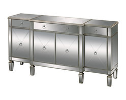 Sterling Industries - Sterling Industries 6043618 Bodrum Buffet Server - This Mirrored Server Stands 70 inches In Length. Silver Ringed Handles Create Ease Of Function And Complement The Hand Painted Silver Edging. Traditional Lines Enveloped In A Mirrored Finish. Function With Style!  Server (1)