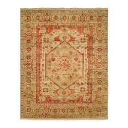 Bergama Rug Collection BG-502 - Especially appealing, our Bergama rugs are woven with a wool foundation, rather than the standard cotton foundation. These luxurious low-pile rugs are hand-knotted and feature a fusion of classic Middle Eastern tribal and nomadic designs that have an antique look and feel due to the weaving process as well as the finishing wash.