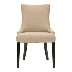 "Horchow - Becca Side Chair - Sweeping lines combined with neat rows of nailhead trim add to the smart look of these linen- and leather-wrapped and linen-wrapped dining chairs. Handcrafted of birch wood. ""Becca Lee"" dining chair wrapped in beige linen with brown leather on the bac..."
