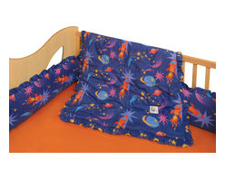 Room Magic - Star Rocket Crib Set - Boys will love this designer fabric swirling with bright stars, rockets and planets. The 4 piece crib bedding set includes bumper, solid crib sheet, crib comforter (print on top, solid on bottom) and gathered print crib skirt in the finest 100% cotton.