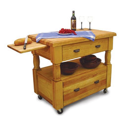 Catskill Craftsmen - Island Europa Work Center w Drawers & Pull-Ou - Packed with plenty of surprises, this Island Europa kitchen workcenter has a classic profile, too! Made with top-notch hardwoods, this stylish unit has turned legs and locking casters for mobility when needed. A pair of drawers and slide out cutting board complete this functional, affordable island. Kitchen Islands. Made of Northeastern Hardwood from the Catskill Mountains. Overall: 24 in. L x 40 in. W x 35.75 in. H (174 lbs.). Table top: 24 in. L x 40 in. W x 2 in. H. Open shelf: 19.88 in. L x 29.88 in. W x 8.75 in. H. Top interior drawer: 18 in. L x 27.5 in. W x 6 in. H. Bottom interior drawer: 18 in. L x 27.5 in. W x 11 in. H. Pull-out cutting board: 14.88 in. L x 18 in. W x 1 in. H. Butcher block top with routed ogee edge. 2 Large capacity storage drawers. 2 Removable cutting boards. Open storage shelf for easy access. Thick turned legs. Locking caster wheels. Made in the USARugged style with a touch of grace and panache, this is the new Island Europa from Catskill Craftsmen. This elegant yet resourceful ready-to-assemble kitchen island features 2 pull-out cutting boards that hide away in pockets underneath the tabletop. 2 large capacity drawers with full extension glides mean that kitchen storage no longer requires getting on your hands and knees. Your most used kitchen items will fit nicely in the open storage area. 3-Inch locking casters allow you to mobilize this island within your kitchen or lock it in place. The 2-inch think top features a beautiful Roman Ogee routed edge. Oil-rubbed bronze hardware accents the oil finished hardwood.
