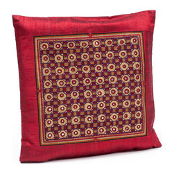 "Sitara Collections - Heirloom Tribal Jat Hand-Embroidered Raw Silk Cushion Cover, 16"" X 16"" - An instant Pick-Me-Up for Living areas or Bedrooms, this Heirloom Pillow Cover Transforms Your Space in a Matter of Minutes. the Motifs Feature Both Neutral and Bright Hues That Will Work with any Decor, While their Notice-Me Designs add the Perfect Hint of Spice. Embroidered Pillow Cushioms are Handmade by Women of Tribes in Kutch, india: Red Silk Cushiom Cover: Tribal Jat Embroidery and Mirrors are Set in Rows and Columns against a Red Silk Backdrop and is a Technique That is Both Precious and Rare. Colors: Red Materlal: Dupiomi Silk, Silk Thread Cushiom inserts are Not included Embroidery: Tribal Jat Closure: Slit Care instructioms: Dry Clean Dimensioms: 16 inches X 16 inches Set includes ome (1) Cushiom Cover artisan Group: Earthy Goods Imported."