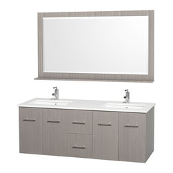 Wyndham - Centra Vanity Double 60in. in Grey Oak w/ White Stone Top & Square sinks - Simplicity and elegance combine in the perfect lines of the Centra vanity by the Wyndham Collection. If cutting-edge contemporary design is your style then the Centra vanity is for you - modern, chic and built to last a lifetime. Available with green glass, white carrera marble or pure white man-made stone counters, and featuring soft close door hinges and drawer glides, you'll never hear a noisy door again! The Centra comes with porcelain, marble or granite sinks and matching mirrors. Meticulously finished with brushed chrome hardware, the attention to detail on this beautiful vanity is second to none.