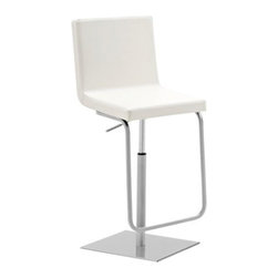 Domitalia - Afro Stool by Domitalia - A crisp, clean and comfortable stool for modern kitchens or bar areas. The seat of the Domitalia Afro Stool is an armless curve of supple Bloom faux leather. The sharp, precise stitching of this upholstery mirrors the clean lines of the adjustable height swivel base and the unusual footrest, both made out of chromed steel. Domitalia prides itself--and its line of contemporary furniture--on being 100% Italian. All Domitalia furniture is designed and made in Italy. In-house production of their indoor and outdoor furniture designs allows Domitalia to experiment with innovative materials and processes and keep a tight rein on quality control. The resulting pieces are modern, comfortable and sensual in form, suitable for a range of residential and contract settings.