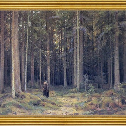 "Ivan Ivanovich Shishkin-18""x24"" Framed Canvas - 18"" x 24"" Ivan Ivanovich Shishkin The Forest of Countess Mordvinova framed premium canvas print reproduced to meet museum quality standards. Our museum quality canvas prints are produced using high-precision print technology for a more accurate reproduction printed on high quality canvas with fade-resistant, archival inks. Our progressive business model allows us to offer works of art to you at the best wholesale pricing, significantly less than art gallery prices, affordable to all. This artwork is hand stretched onto wooden stretcher bars, then mounted into our 3"" wide gold finish frame with black panel by one of our expert framers. Our framed canvas print comes with hardware, ready to hang on your wall.  We present a comprehensive collection of exceptional canvas art reproductions by Ivan Ivanovich Shishkin."