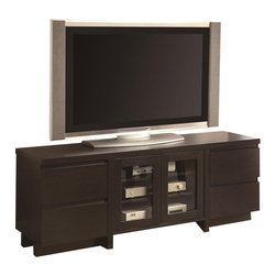 Coaster - Coaster Contemporary TV Console with Glass Doors in Cappuccino - Coaster - TV Stands - 700695 - Bring convenient media storage to your home while infusing the space with bold yet simple contemporary flair. This TV stand features three shelves behind glass doors for components and media players plus four drawers perfect for disks manuals and small electronics. The top panel accommodates television sets up to 132 pounds and 60 inches in diameter. Finished in a rich cappuccino this console looks fresh and distinguished as part of your home decor.