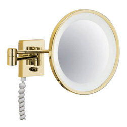 """Decor Walther - Decor Walther BS 40 PL/V Cosmetic Mirror - The BS 40 PL/V cosmetic mirror has been designed and made by Decor Walther.     The BS 40 PL/V cosmetic mirror of Decor Walther is a well-crafted   processed  item for upscale bathroom. By the noble chrome surface of the   vanity  mirror looks very valued and make applying makeup, shaving and   other  activities easier and more enjoyable. The BS 40 PL/V available  in a 5-fold  magnification also equipped with swivelling spiral cable,  plug  and socket.  Product Details:  The BS 40 PL/V cosmetic mirror has been designed and made by Decor Walther.    The BS 40 PL/V cosmetic mirror of Decor Walther is a well-crafted  processed  item for upscale bathroom. By the noble chrome surface of the  vanity  mirror looks very valued and make applying makeup, shaving and  other  activities easier and more enjoyable. The BS 40 PL/V available in a 5-fold  magnification also equipped with swivelling spiral cable, plug  and socket.  Details:                                      Manufacturer:                                      Decor Walther                                                                  Designer:                                     In House Design                                                                  Made in:                                     Germany                                                                  Dimensions:                                      Diameter: 10.24"""" (26 cm), Height: 4.53"""" (11.5 cm ) X Depth: 0.79"""" (2 cm) X Width: 3.74"""" (9.5 cm)                                                                  Light bulb:                                      2 x G23 Max 9W                                                                  Material:                                      Metal"""