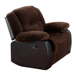 "Acme - Bernal 2 Tone Chocolate Corduroy and Leather-Like standard Motion Recliner - Bernal 2 tone chocolate corduroy and leather like standard motion recliner chair with overstuffed seats and arms. This recliner features a 2 tone upholstery with corduroy fabric and leather like with a release latch on the side of the recliner, this is a manual recliner you need to push the footrest back to lock it in. Recliner measures 39"" x 37"" x 38"" H. Some assembly may be required."
