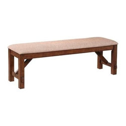 """PWL713-260 - Kraven In A Dark Hazelnut Wood Finish Dining Bench - Kraven in a dark Hazelnut wood finish Dining Bench.  The Kraven Acacia Bench is a great addition to the Kraven Dining Table. Featuring thick, sturdy, straight legs and a plush 100% polyester upholstered tan seats, the frame is finished in a dark Hazelnut. Bench measures:  60"""" x 16"""" x 20-1/4"""" tall. Contains:  Acacia, Rubberwood, Fabric - 100% polyester, Polyurethane Foam.  Some assembly required."""