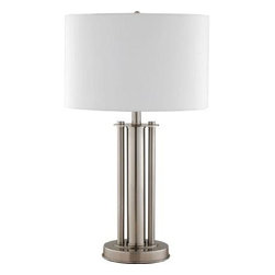 Hampton Bay - Hampton Bay Bedside Lamps: 25-1/2 in. Table Lamp HD13670TLBSTC - Shop for Lighting & Fans at The Home Depot. The Hampton Bay 25-1/2 in. Table Lamp features a white fabric shade and a handsome brushed steel finish. The lamp is ETL listed to help guarantee safety and uses one 100 watt incandescent bulb (not included).