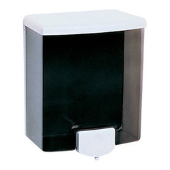 BOBRICK WASHROOM - C-SOAP DISPENSER 40 OZ   TONE BLACK/GREY ABS - Two-tone styling. Push-in valve directs operating pressure toward wall. Corrosion-resistant valve dispenses liquid soaps, lotions and synthetic detergents. Translucent container for soap level visibility. Concealed wall fastening. Easy top-filling. 40-fl..   oz. capacity. 5-13/16w x 3-3/8d x 6-7/8h..  .  .  .  Black/Gray.  This product does not ship to APO/FPO addresses   CAT: Skin Care & Personal Hygiene Soaps & Dispensers Liquid Soap Dispensers