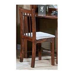 Chelsea Home - Rustic Desk Chair - Solid ponderosa pine frame. Rounded edges for strong and safe youth furniture. Baltic birch plywood filler panels for smooth feel and finish. Warranty: One year. Cocoa finish. Made in USA. No assembly required. 16 in. W x 16 in. D x 36 in. H (18 lbs.)