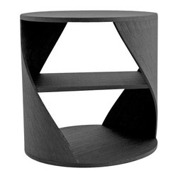 NONO - Nono Mydna Small Table Wood Finish, Black Wood - The Mydna seems to stretch and bend within your room. This athletic piece is cylindrical with a middle shelves for heirloom editions, new favorites, and poetry anthologies of your choosing.